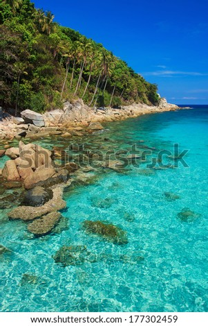 Serene view on the seaside of Perhentian Kecil Island, Malaysia  - stock photo
