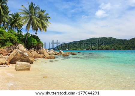 Serene view on the tropical sandy beach with coconut palms, Perhentian Kecil Island, Malaysia  - stock photo