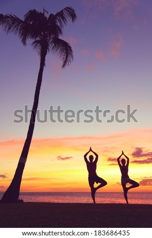 Serene yoga people training in sunset in tree pose meditating outdoors by beach ocean sea. Couple, man and woman working out training in serene ocean landscape. Silhouette against sunset - stock photo