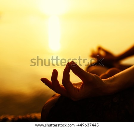 serenity and yoga practicing at sunset, meditation - stock photo