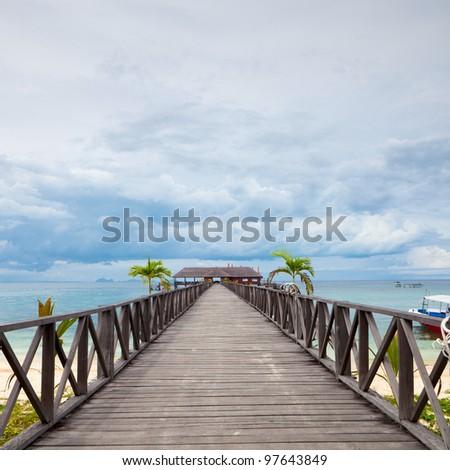 Serenity Boardwalk  at tropical island - stock photo