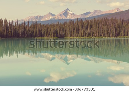 Serenity Emerald Lake in the Yoho National Park,Canada - stock photo