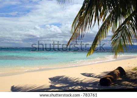serenity of beach with palm trees San Blas Island of the Kuna Indians Caribbean Sea Panama Central America - stock photo