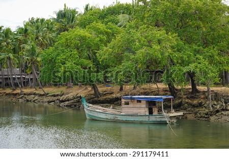 Serenity river in Dong Nai, southern Vietnam. - stock photo