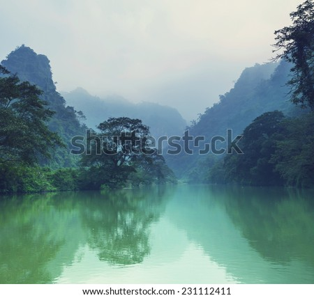 Serenity river in Vietnam - stock photo