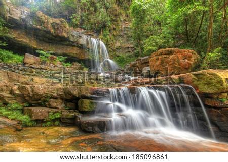 Seri Mahkota Endau Rompin Pahang waterfall, Malaysia in HDR - stock photo