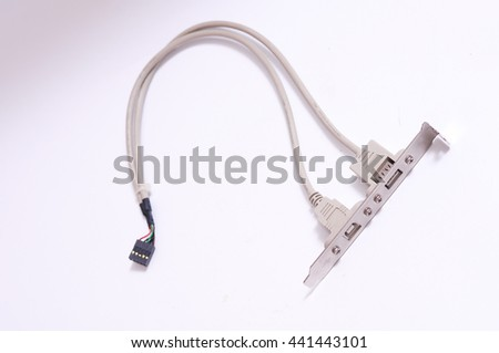 Serial Ata Cable to main board and usb, lan port close up on isolated white background - stock photo