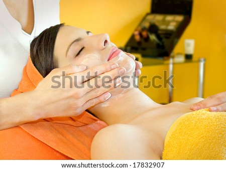 serie of a woman in a beauty-salon - stock photo