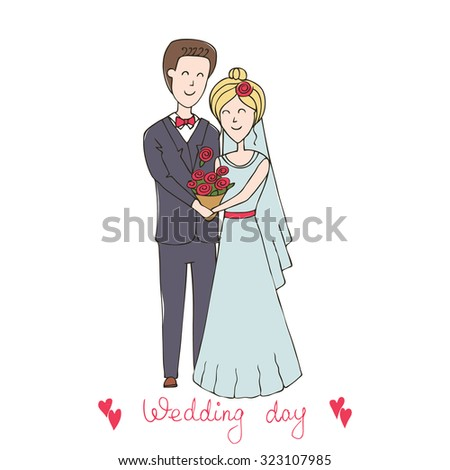 """Series abstract illustration """"of the life of a pair of lovers"""". Love card. wedding set, bride and groom. Wedding invitations. Hand drawn wedding couple. Just married - stock photo"""