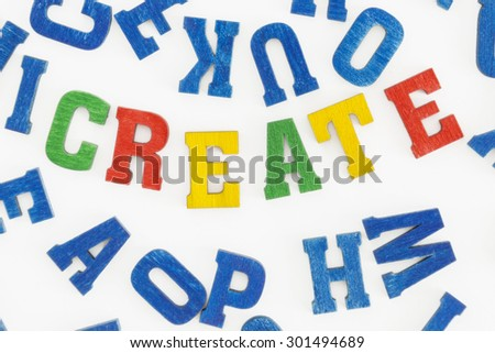"Series activities: Word ""create"" in colorful letters on white background"