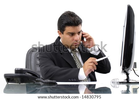 Series - Businessman on the phone in the office .