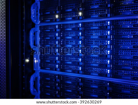 series disk storage disks of the mainframe in the data center - stock photo