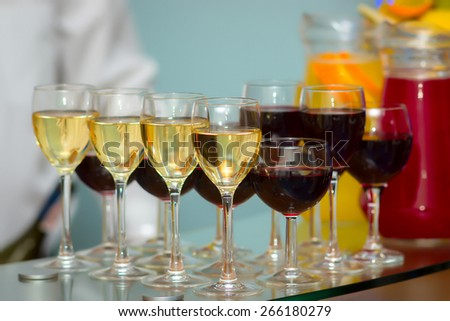 Series glasses of red wine