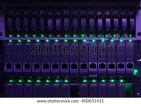 series modern hard drive disk storage front view close-up - stock photo