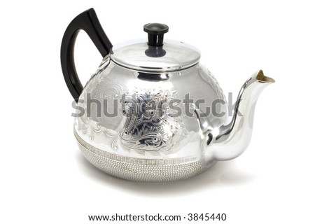 series object on white - silver teaport