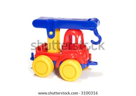 series object on white: toy- truck crane