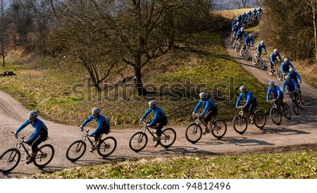 series of a mountain biker - stock photo