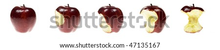 series of an apple being eaten - stock photo