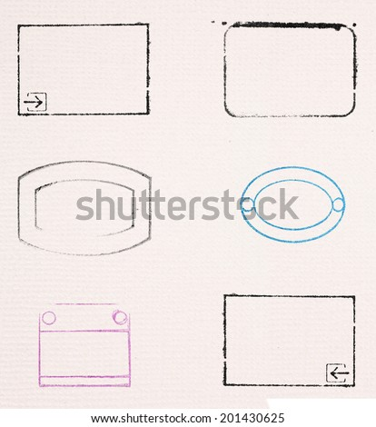 Series of blank rubber stamp outline icon on paper parchment.  - stock photo
