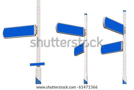 Series of blue traffic sign arrows, isolated against background