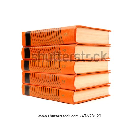 series of books stack in leather binding isolated on white background - stock photo