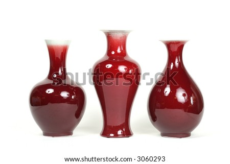 Series of 3 chic red vases - stock photo