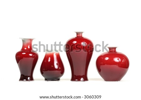 Series of 4 chic red vases - stock photo