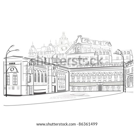 Series of city streets views  in sketches - stock photo