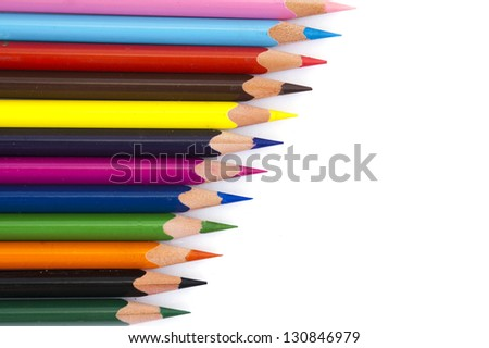 series of color pencils - stock photo