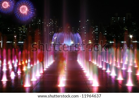 Series of colorful fountains - stock photo