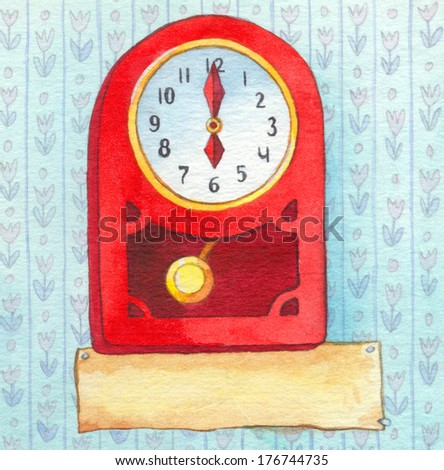 Series of colorful watercolors. Wall clock with a banner for text. Six o'clock