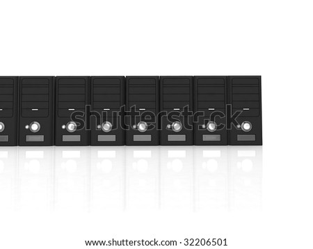 series of 3d cpu on a white background - stock photo