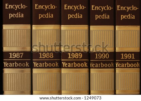 Series of encyclopedia from 1987 to 1991 - stock photo
