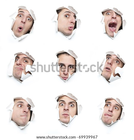 series of faces looking through holes in the paper - stock photo