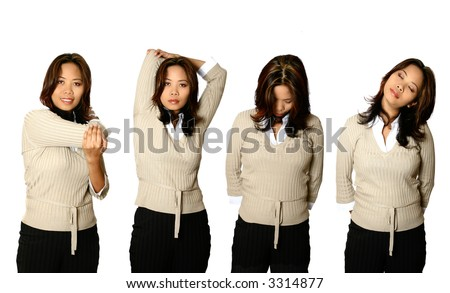 Series of female office worker doing stretching exercises, ideal for use as promoting healthier lifestyle for those working in office condition.