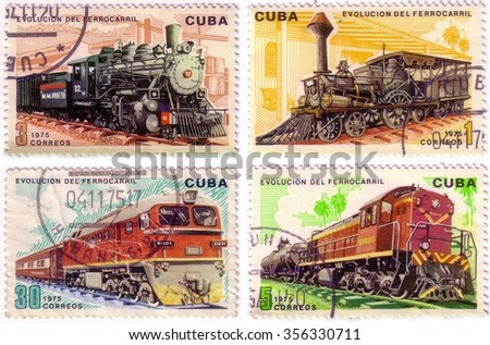 Series of four post stamps printed in Cuba shows moving train and devoted evolution of railway traffic,series .Circa 1975 - stock photo