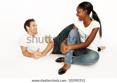 series of happy couple shot on white background