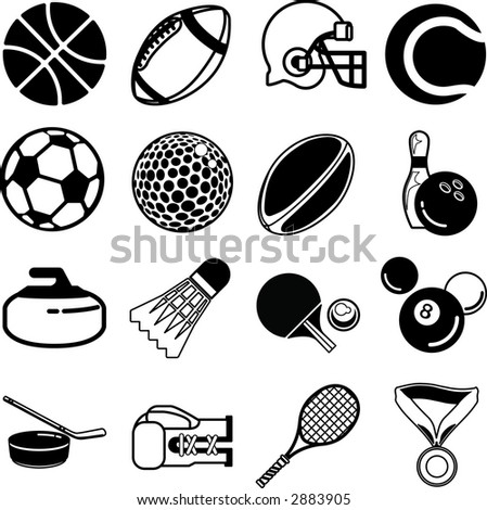 series of icons or design elements relating to sports. Raster version - stock photo
