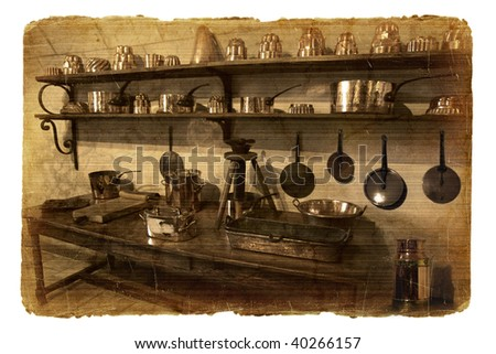Series of illustrations-postcards. Interior of fortress - stock photo