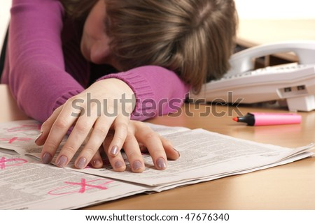Series of images with young woman searching for ads and job in the newspaper. She is in despair. - stock photo
