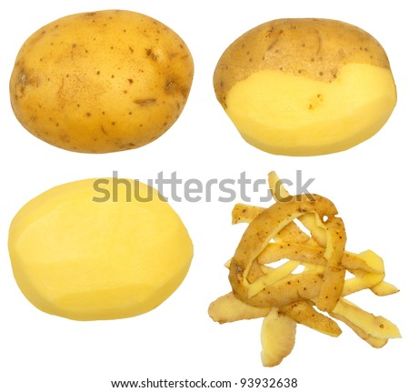 Series of peeling a potato, isolated against background - stock photo