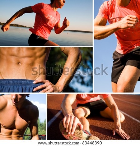 series of photographs of sports training of young handsome men. Unrecognizable. - stock photo