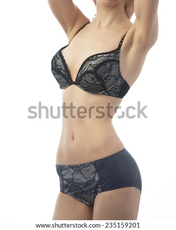 series of photos beautiful young girl different underwear - stock photo