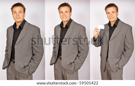 Series of photos smiling businessman with business card