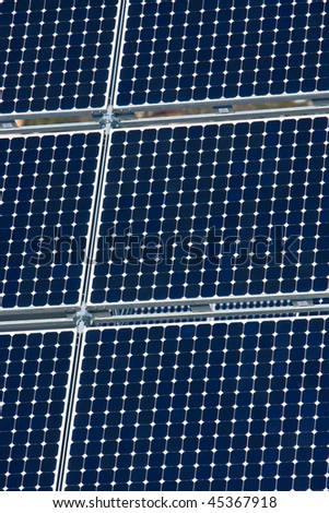 Series of Photovoltaic Solar Panels for Electricity Production - stock photo