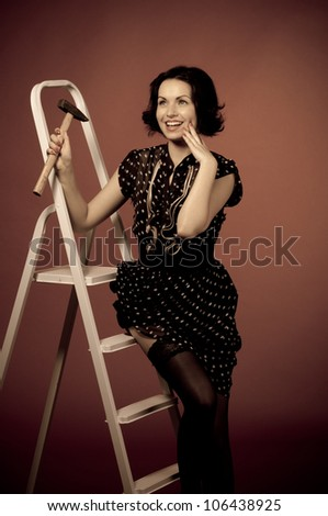 Series of  pin-up studio portraits,  Retro - style