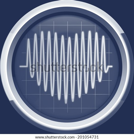 Series of pulses in the form of heart on the cardiomonitor or oscilloscope screen in blue tones, background - stock photo