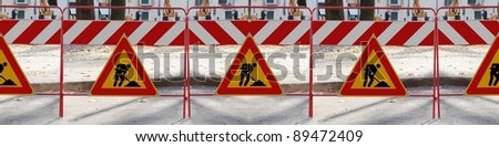 Series of 6 Road signs man at work - You can create banner how long do you need - stock photo