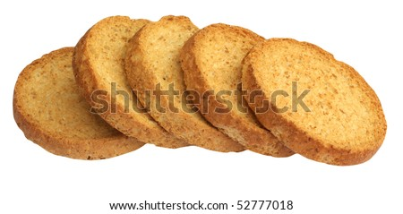 Series of round rusk, isolated on background