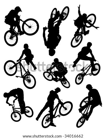 Series of silhouette photographs of bikers doing stunts.  Some motion blur is visible on the wheels and spokes. - stock photo